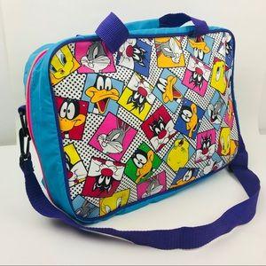 Vintage 90s Looney Tunes Duffle Bag Travel Blue